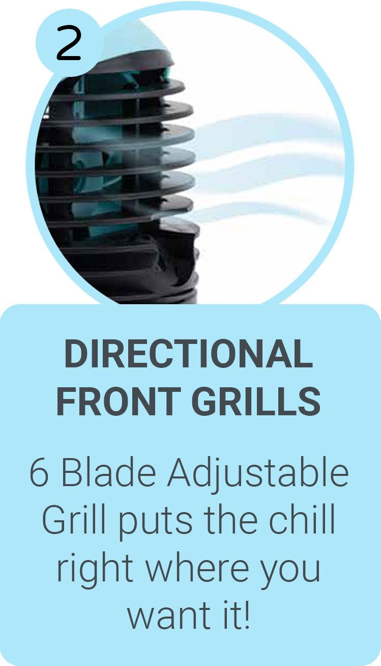 Directional Front Grills - 6 Blade Adjustable Grill puts the chill right where you want it!