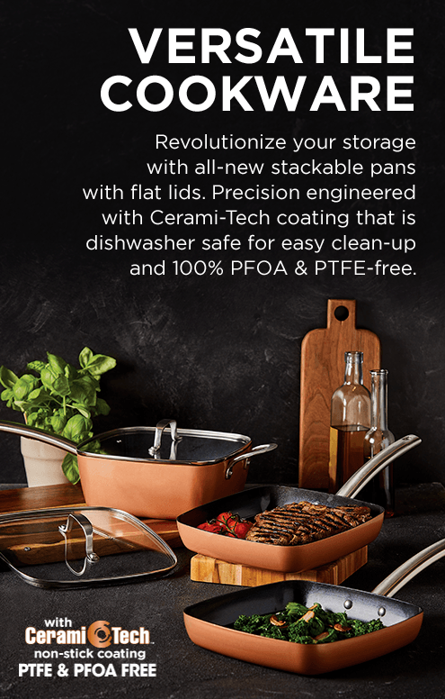 Copper Chef's new heavy-duty stackable Black Diamond pots and pans are PFOA and PTFE free