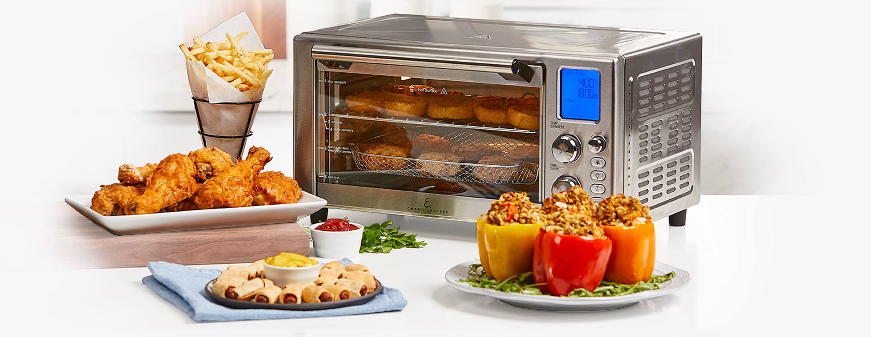 Use Emeril Lagasse Power Air Fryer to make Fried Chicken, Fried Stuffed Peppers, Pigs in a Blanket, French Fries, Onion Rings , Biscuits and more