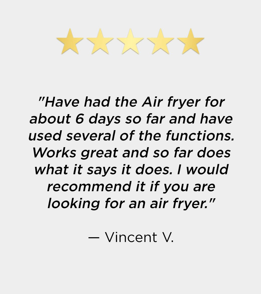 emeril air fryer review: I would recommend it if you are looking for an air fryer -Vincent V.