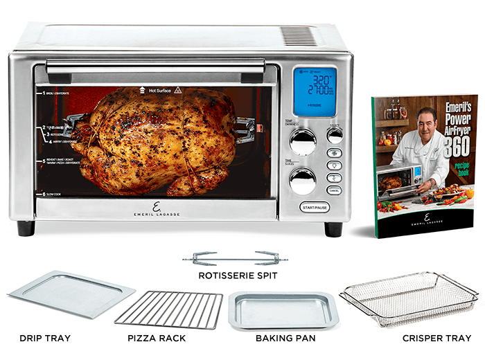 Air Fryer Set includes crisper tray, rotisserie spit, pizza rack, drip tray, baking pan, emeril recipes book
