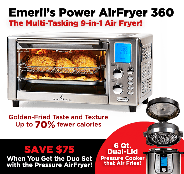 360 Powerful, Even Heat, Seamless Air Flow Technology, Brushed Stainless Steel | Golden Fried Taste & Texture With up to 70% Fewer Calories From Fat vs Deep Frying