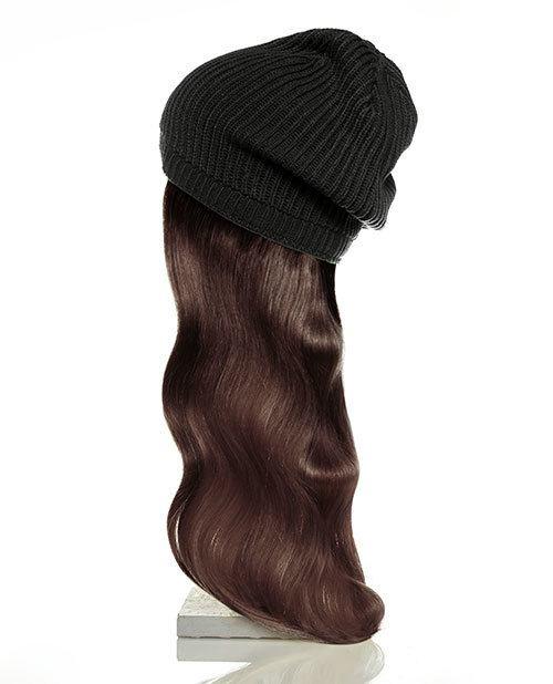 black hat brown hair
