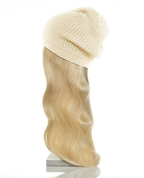 tan hat blonde hair
