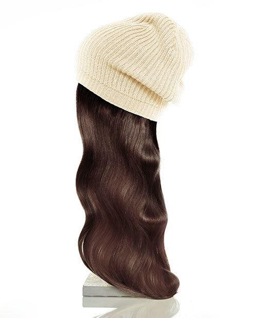 tan hat brown hair