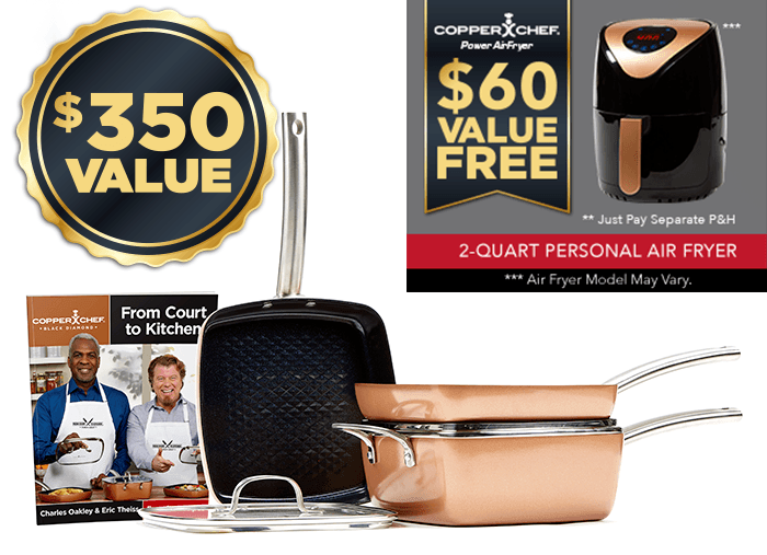 Copper Chef pots and pans set   Black Diamond collection   $450 value
