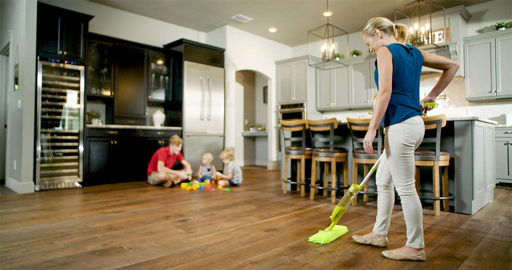 Mopping the kitchen floor with the eMop