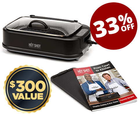 Includes non stick griddle plate and grill plate, two grilling recipe books, tempered glass lid with handle