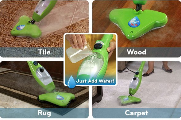 Clean Tile, Wood, Rugs, and Carpets by just adding water!