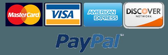 Mastercard –Visa –Amex –Discover