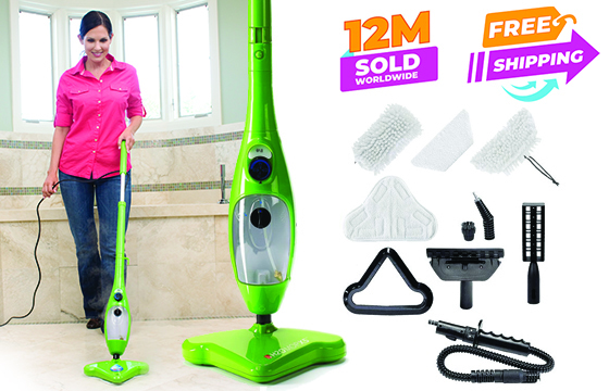 Woman mopping with the H2O X5 – 12 Million sold worldwide – Free Shipping