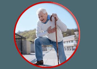 elderly man in medical emergency