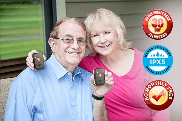 senior couple with fasthelp device