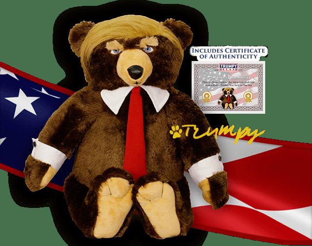 trumpy bear with certificate