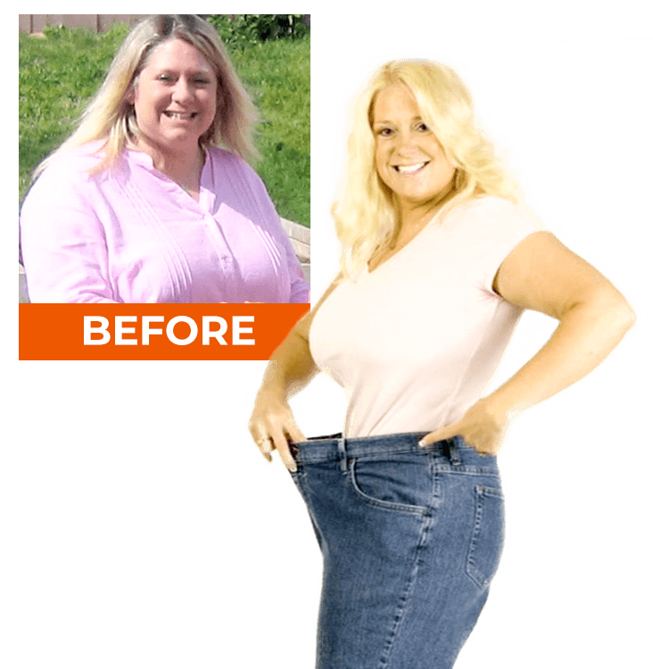 before & after: woman showing old jean size