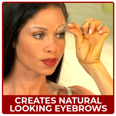 Woman applying brow stamp - Creates Natural, Thicker Looking Eye Brows