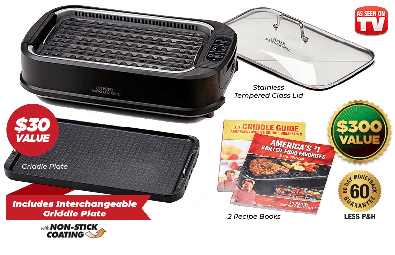 Entire Grilling Set – $300 Value – Includes Recipe Books, Tempered Glass Lid, Interchangeable Grill and Griddle Plate