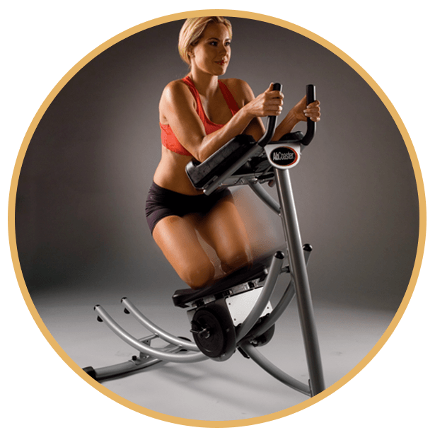 woman doing free style motion on ab coaster