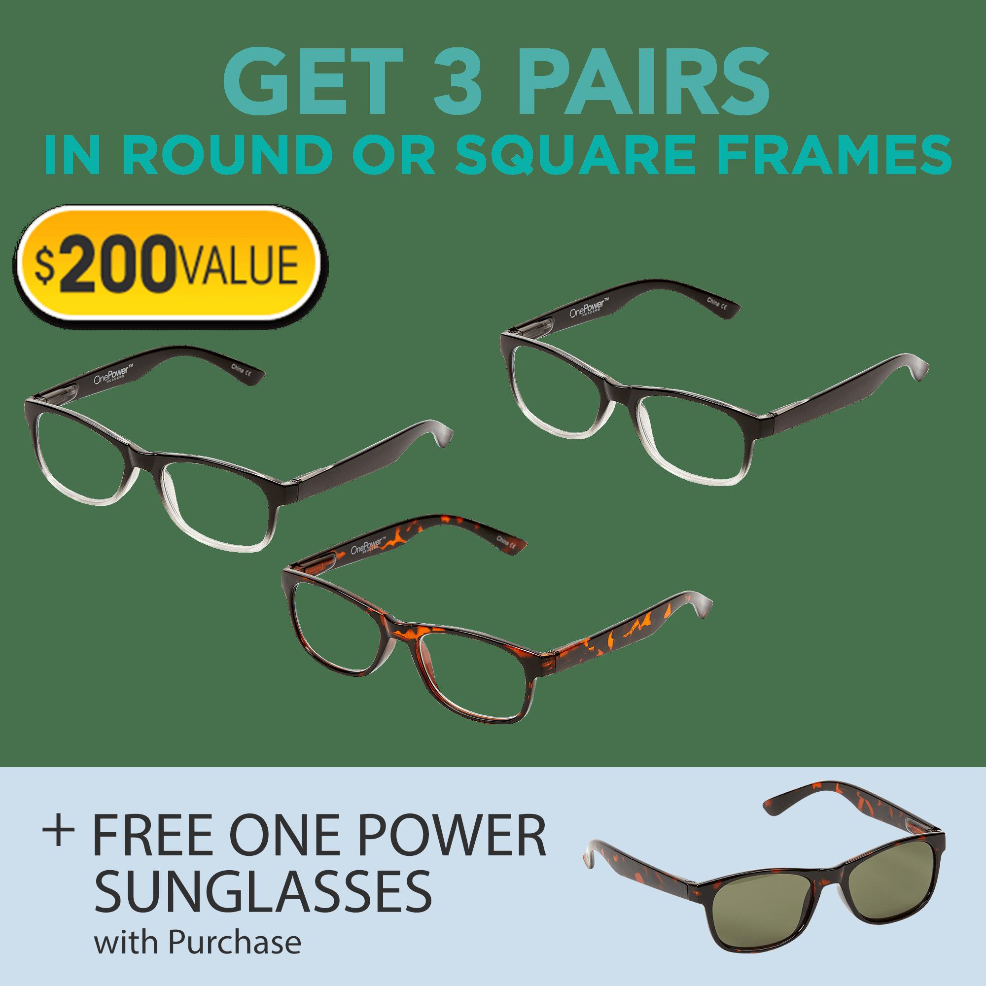 3 glasses offer