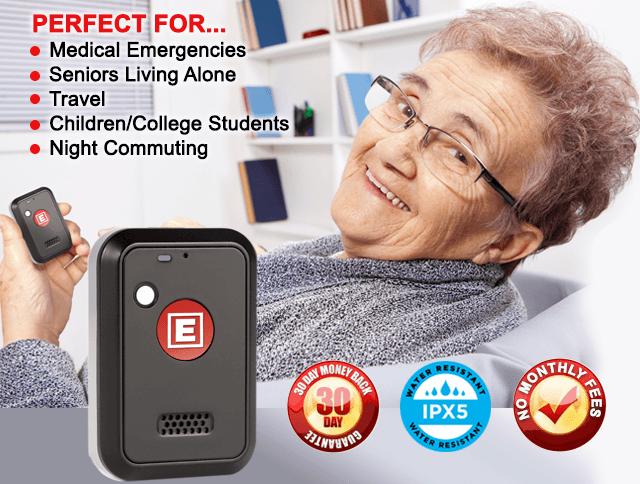 senior woman using medical alert device