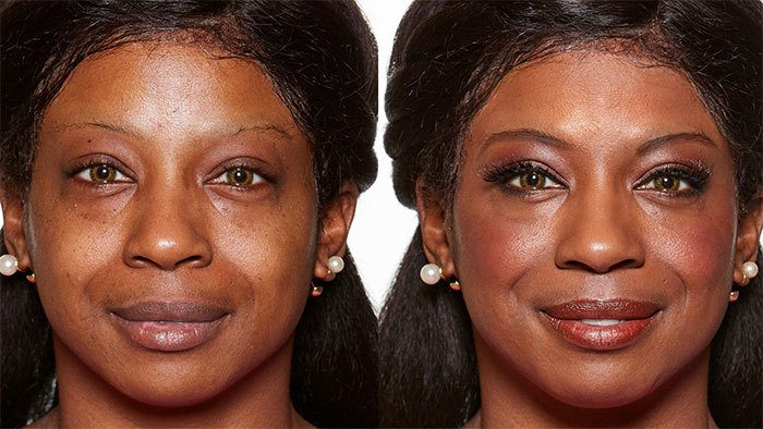 Before and After of Older Woman with Black Hair