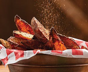 Hot air frying potato wedges