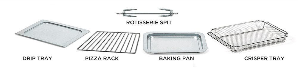 Removable oil drip and crumb tray, pizza and broiling rack, baking pan, crisper tray, and rotisserie spit