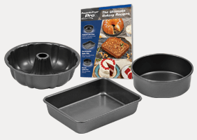 Air Fryer Baking Pan Set – 4 Piece with Recipe Book