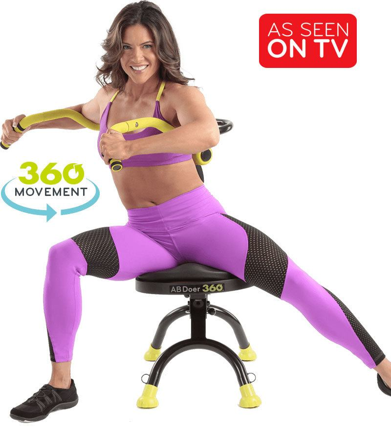 Woman exercising on the Ab Doer 360 – Offering 360° of movement